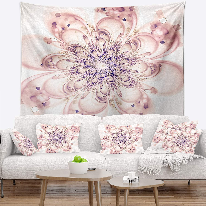 Designart TAP10336-32-39 Full Bloom Fractal Flower in Pink Wall Tapestry Medium//32 x 39