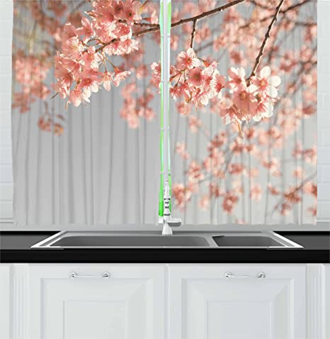 Ambesonne Peach Kitchen Curtains Japanese Scenery Sakura Tree Cherry Blossom Nature Photography Coming Of Spring Window Drapes 2 Panel Set For Kitchen Cafe Decor 55 X 39 Burgundy Teal Home