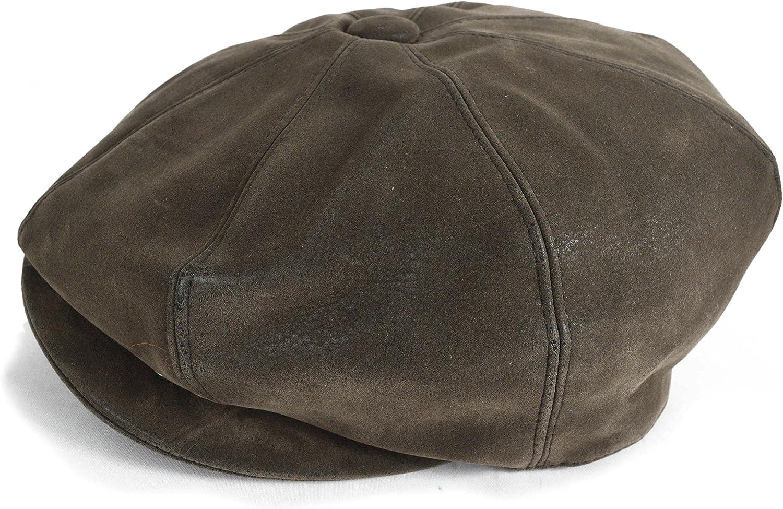 GFM Brown 8 Panel Baker Boy Cap hat in faux leather