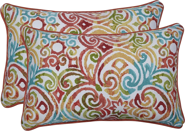 """Pillow Perfect Outdoor/Indoor Corinthian Dapple Lumbar Pillows, 11.5"""" x 18.5"""", Blue, 2 Count"""