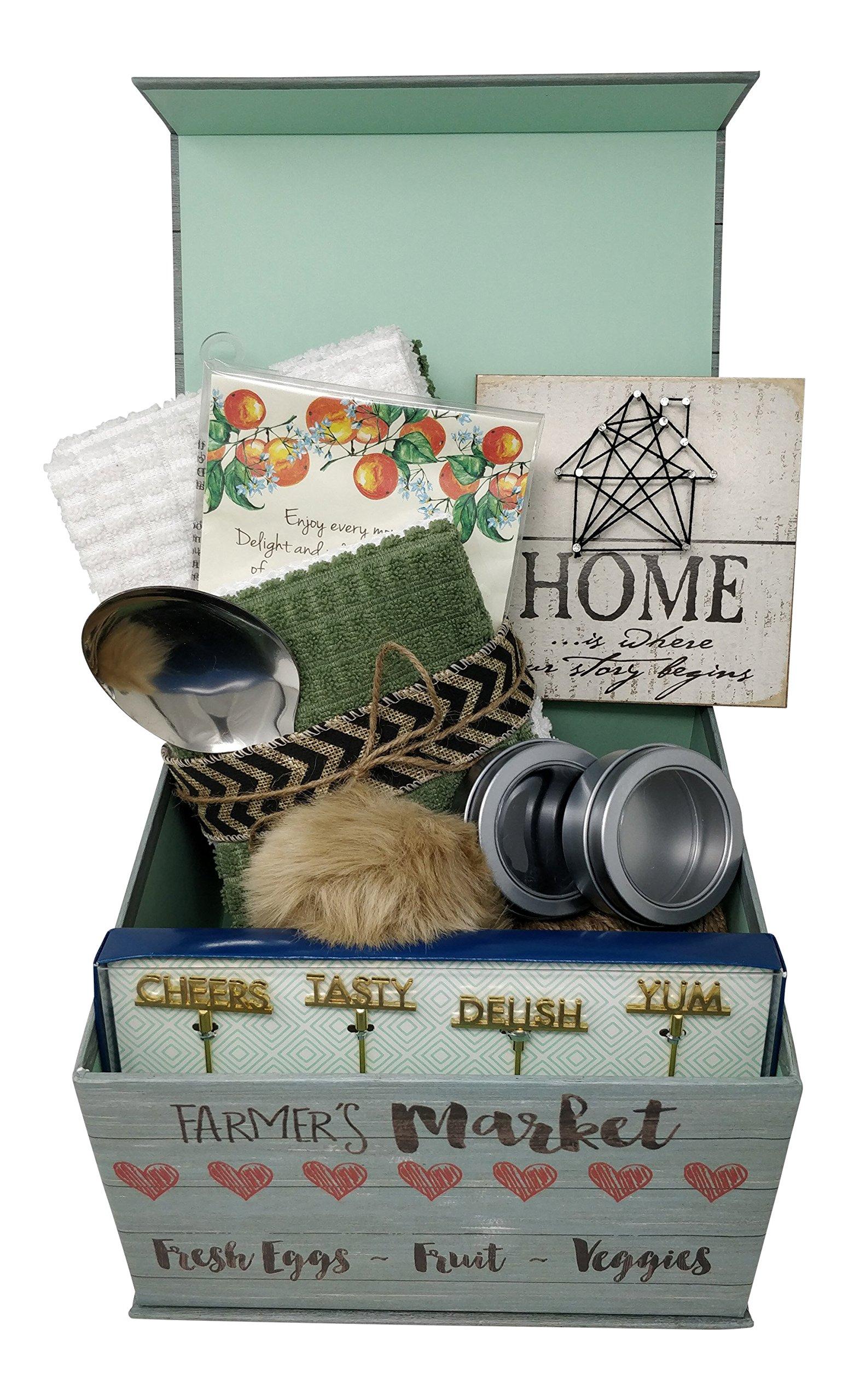 Combination Housewarming Gift Basket Farmhouse Decor 6 Piece Kitchen Towel Set For New Home Couples Women Unique Gift Ideas