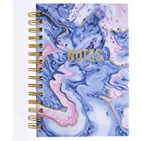 "Graphique Blush & Blue Marble Hard Bound Journal, 160 Ruled Pages, Colorful Marble""Notes"" Message Cover Embellished w…"