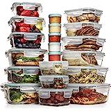 Razab - Juego de 35 recipientes de vidrio para almacenamiento de alimentos con tapa, recipientes herméticos de vidrio…