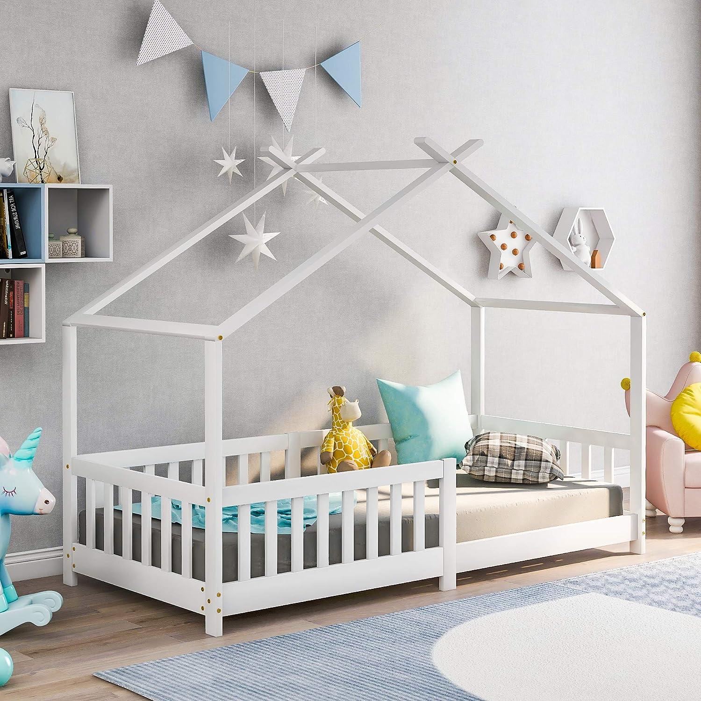 Bonita cama infantil de madera maciza con valla y somier, con protección anticaídas, para habitaciones infantiles y juveniles, color blanco