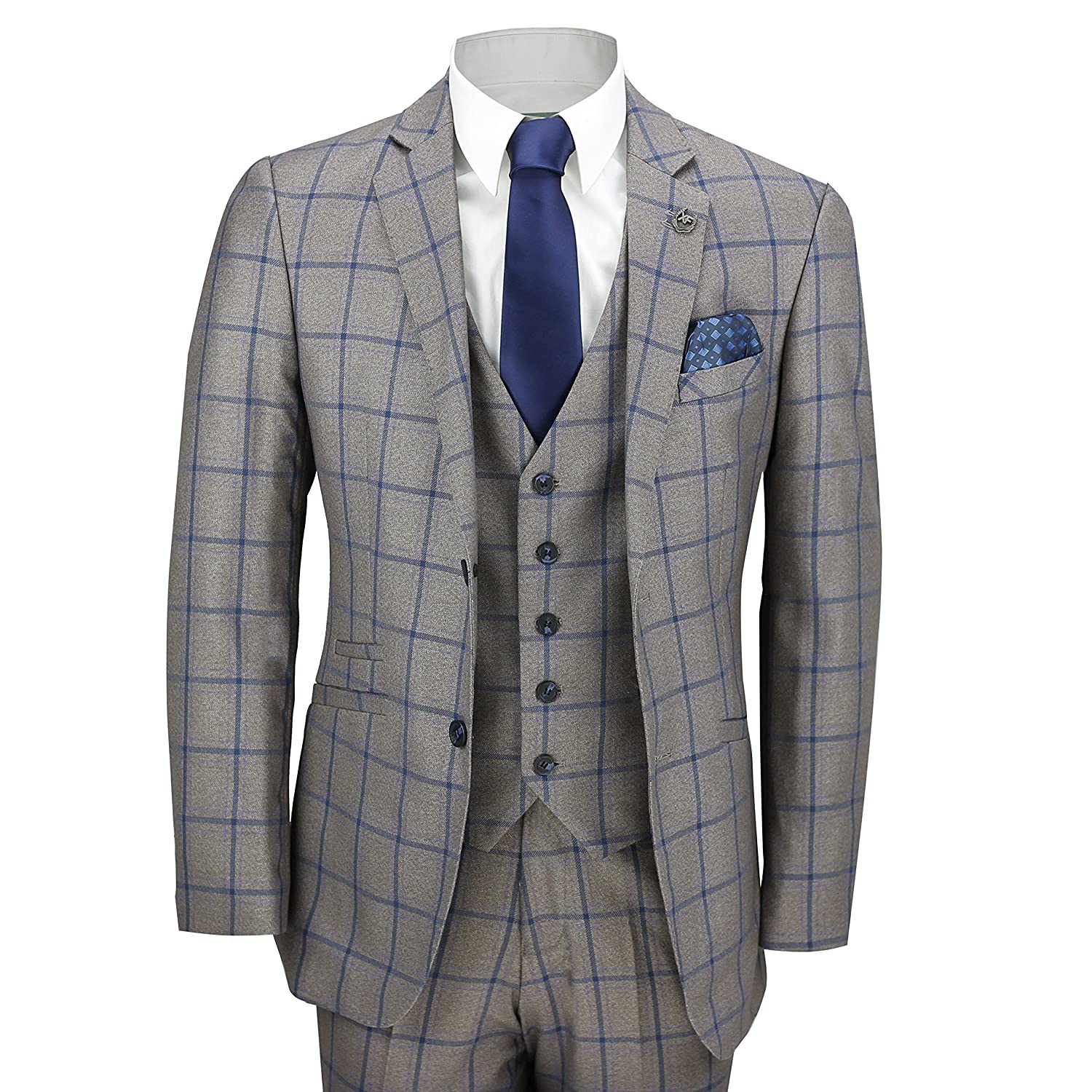 XPOSED Mens 3 Piece Window Pane Blue Check on Brown Vintage Tailored Fit Smart Formal Retro Suit