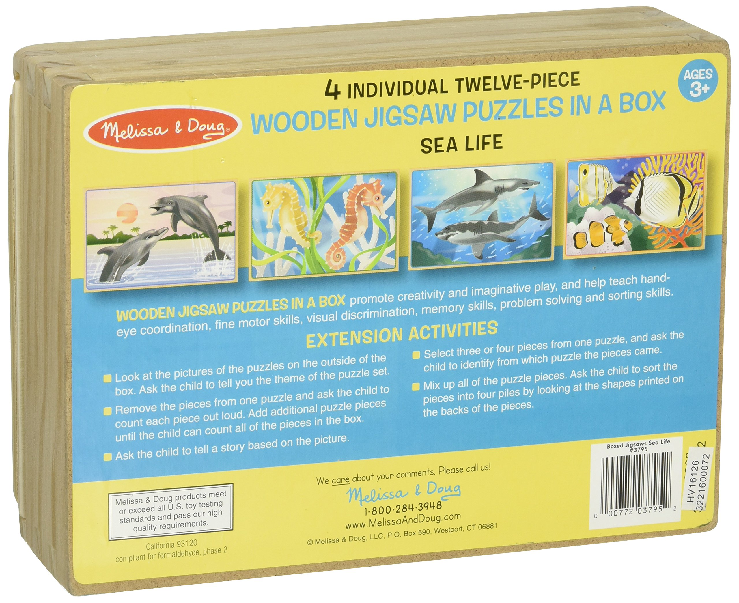 a09dcbdcfbefe Melissa Doug Sea Life 4-in-1 Wooden Jigsaw Puzzles in a Storage Box ...