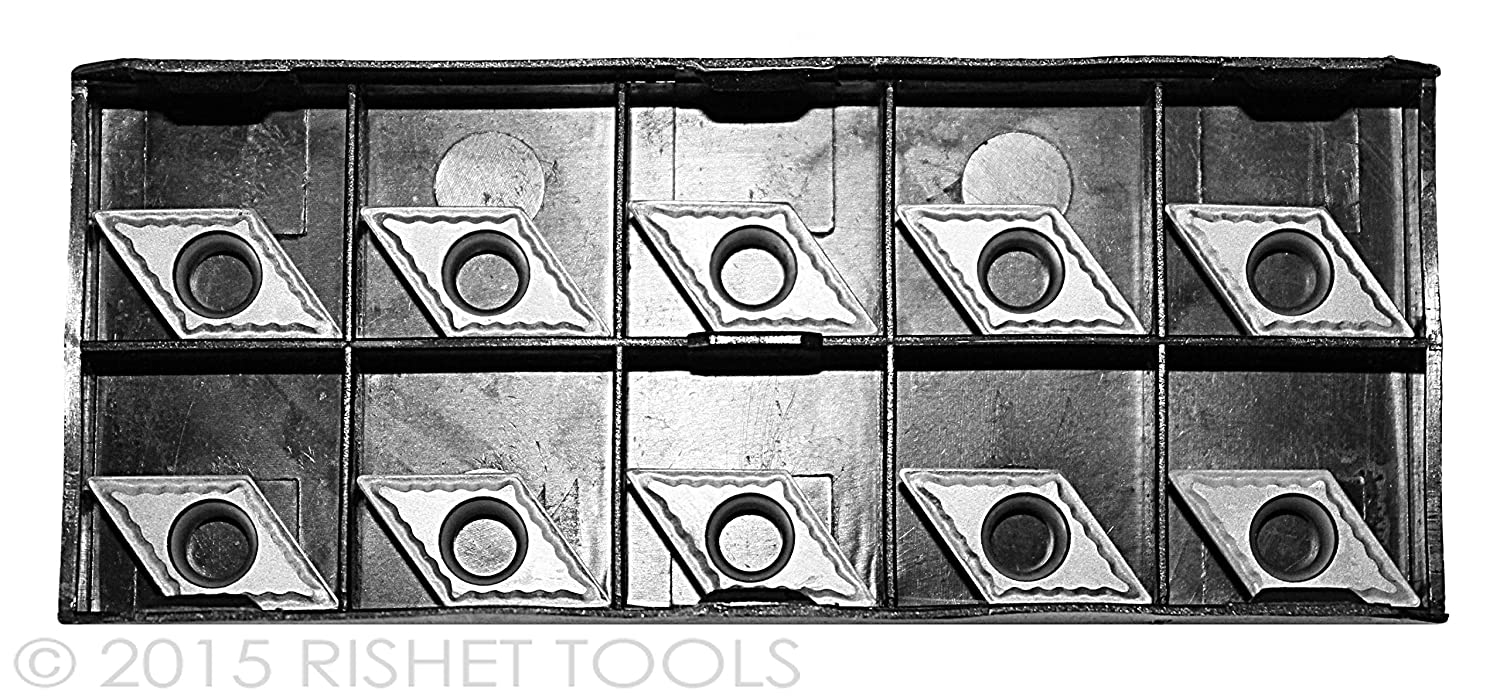 RISHET TOOLS 10500 DCMT 32.51 C5 Uncoated Bright Finish Solid Carbide Inserts Box of 10