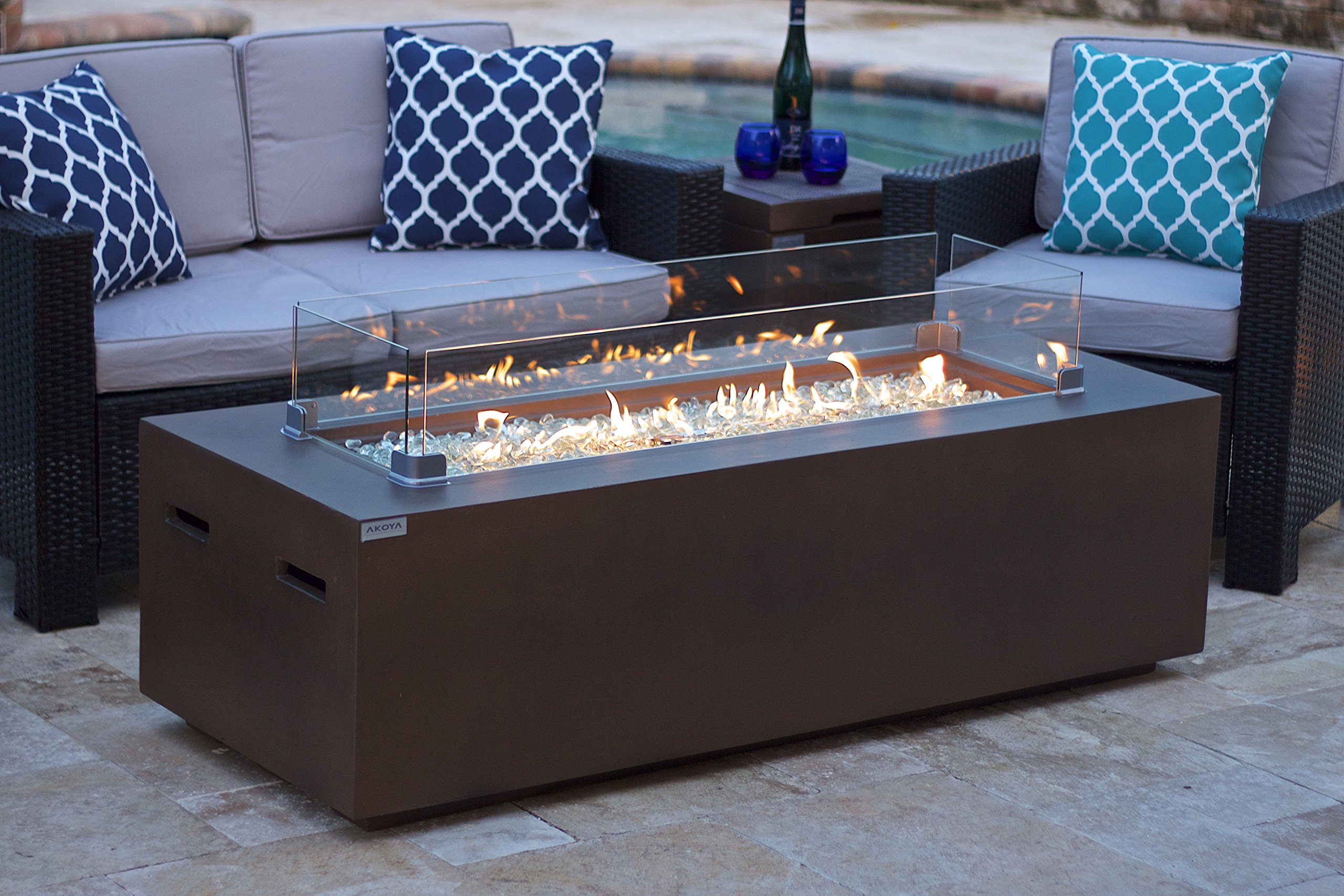 AKOYA Outdoor Essentials 60'' Rectangular Modern Concrete Fire Pit Table w/Glass Guard and Crystals in Brown (60'' Brown, Clear Crystals) by AKOYA Outdoor Essentials