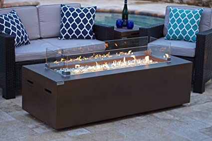 258ad60898f Image Unavailable. Image not available for. Color  AKOYA Outdoor Essentials  60 quot  Rectangular Modern Concrete Fire Pit Table ...