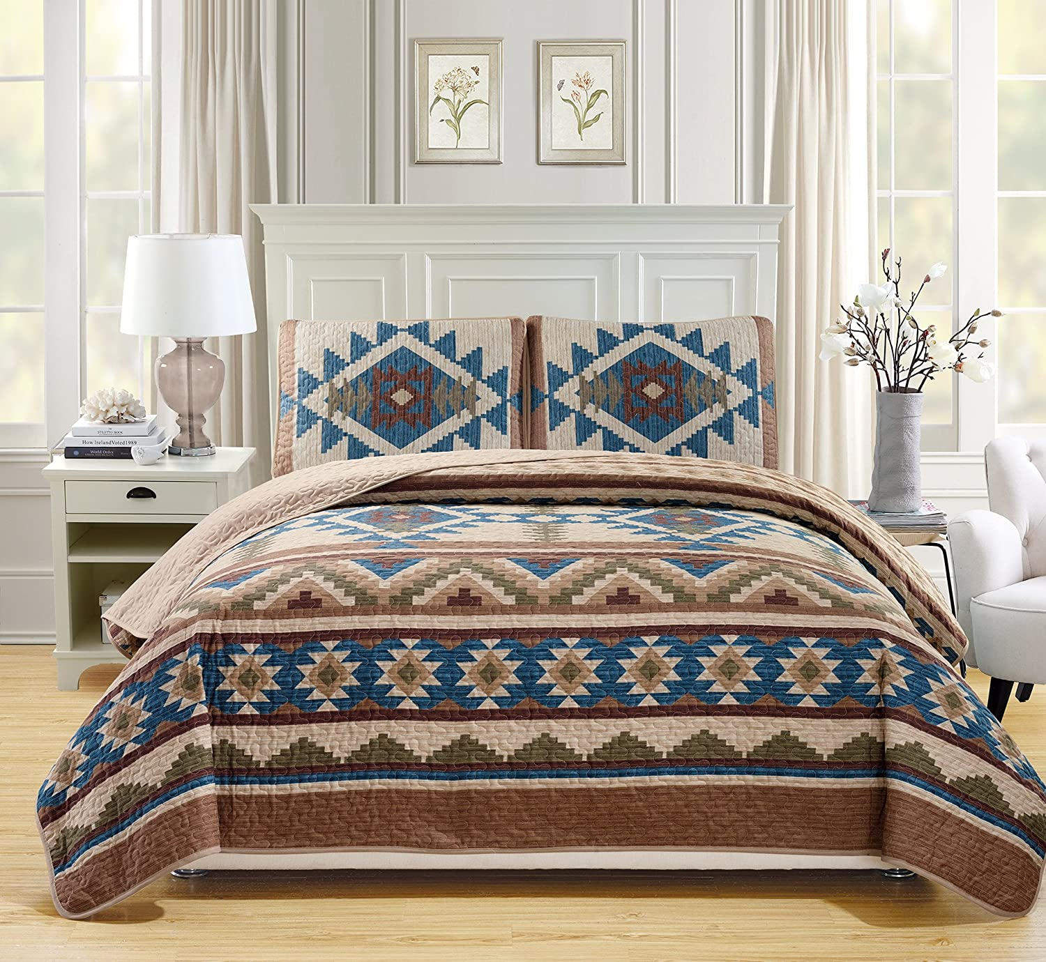 Western Southwestern Native American Tribal Navajo Design 3 Piece Multicolor Beige Taupe Brown Blue Green Oversize King/California King Bedspread Quilt Set