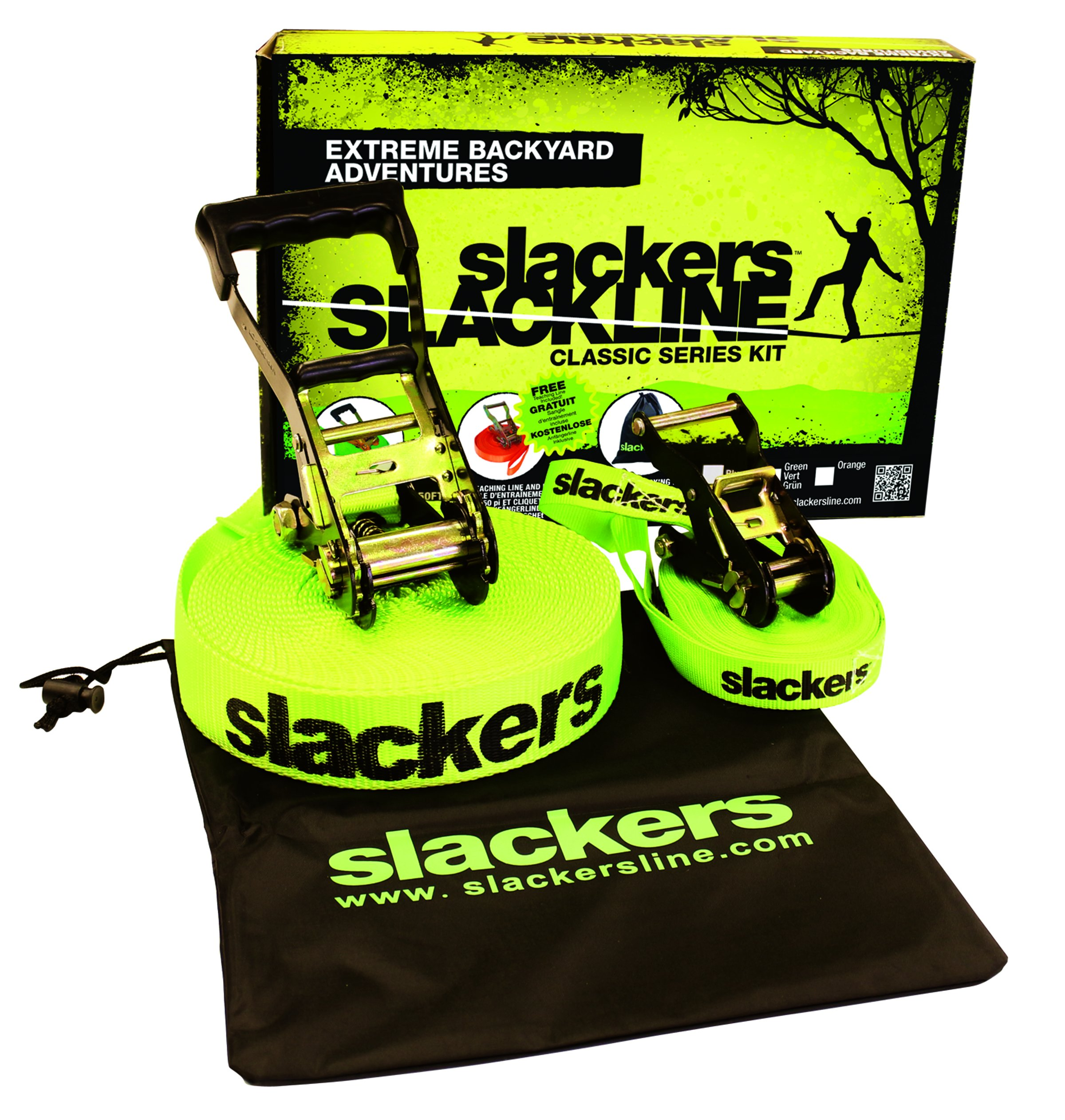 slackers 50-Feet Slackline Classic Set with Bonus Teaching Line, Assorted color by Slackers