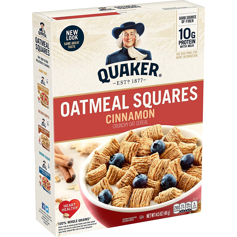 Quaker Oatmeal Squares, Cinnamon, Breakfast Cereal, 14.5 oz Box