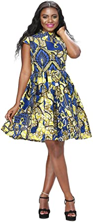 517693f1e3 Women African Dress Ankara Batik Print Traditional Clothing Casual Party  Dress (Medium, A)