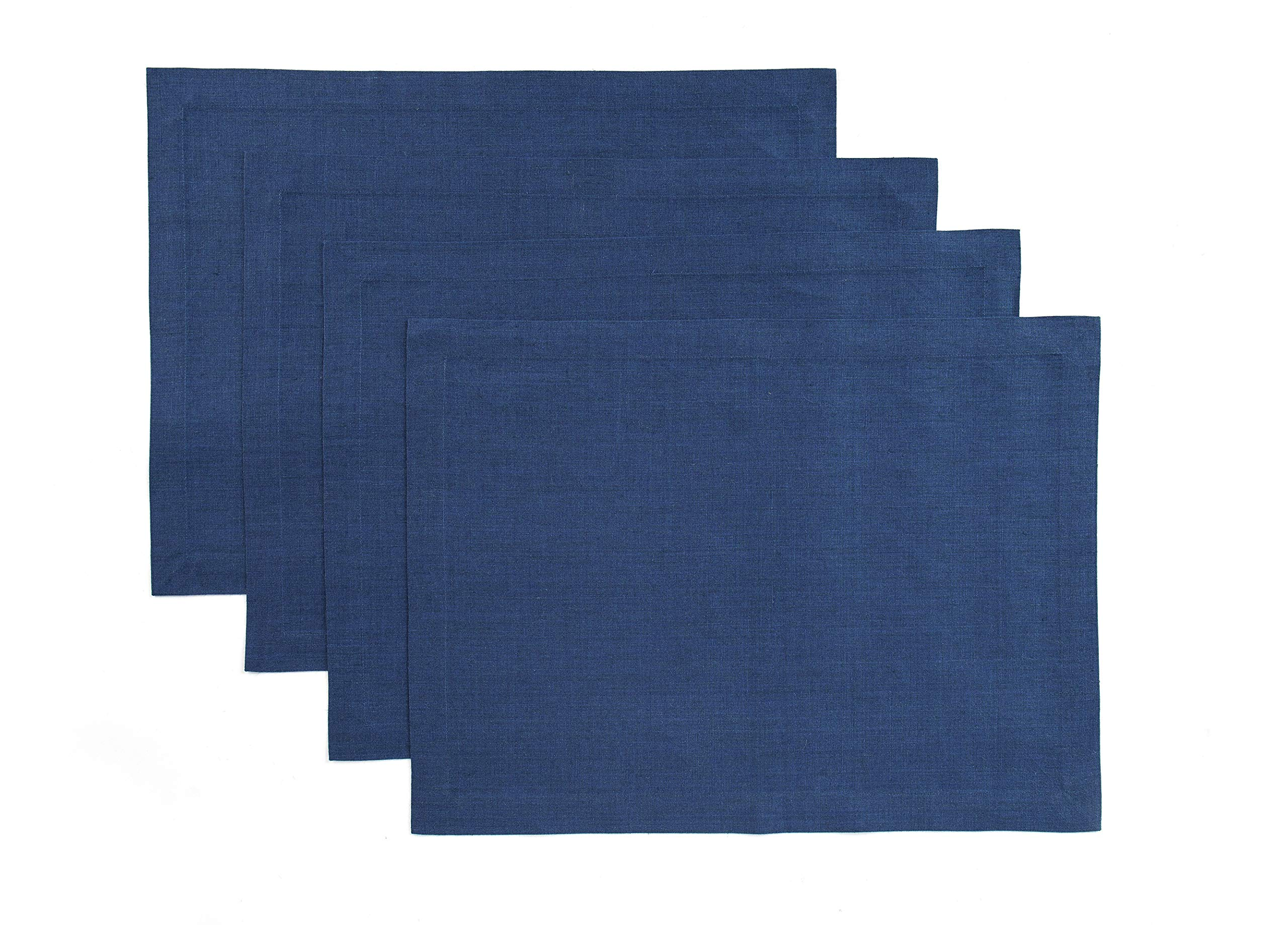Solino Home 100% Pure Linen Handcrafted Placemats Tesoro Set of 4, 14 x 19 Inch Blue Placemats