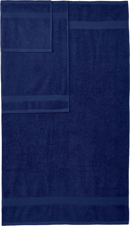 Basics 6-Piece Fade-Resistant Bath Towel Set - Navy Blue: Home & Kitchen