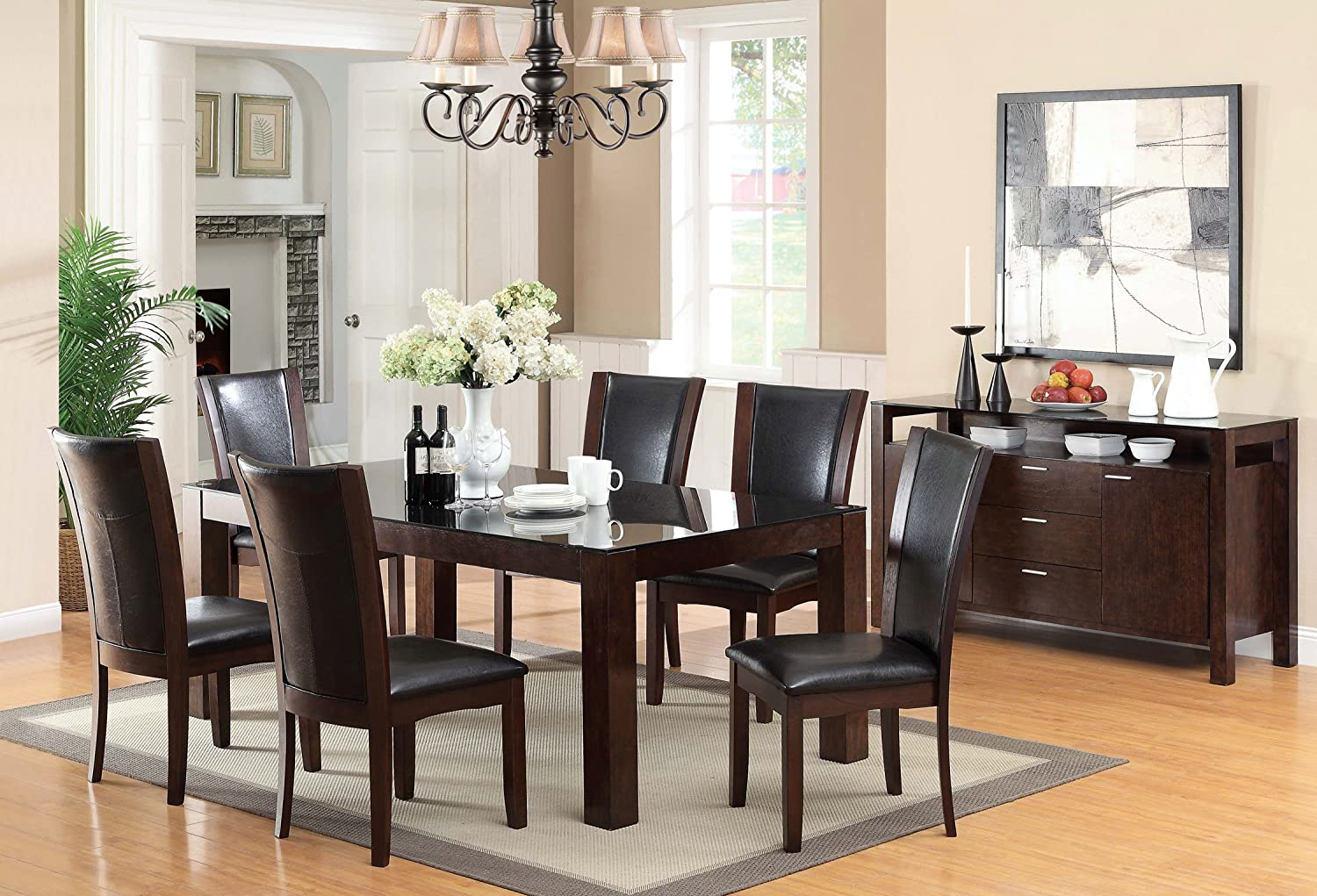 Furniture of America Renolds 7-Piece Dining Table Set with 10mm Black Tempered Glass Top - Dark Cherry Finish