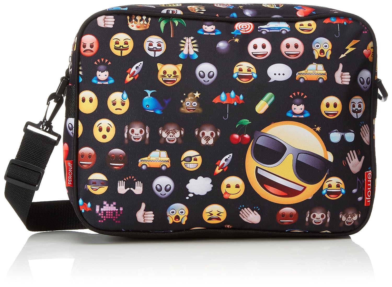 Montichelvo Emoji-Emoticonos Sac /à bandouli/ère 36/cm Noir