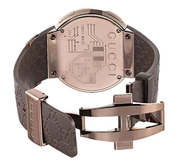 Reloj Gucci Para Hombre Con Marrón Digital Y Marrón caucho YA114209: Amazon.es: Relojes