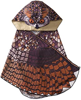 """product image for Kids' Dress Up Realistic Owl Wings with Eyes, Beak, and Hood, for Imaginative Play, Mighty 46"""" Wingspan -Great Horned Owl"""