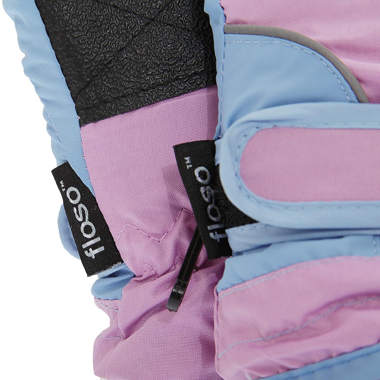Blue 9-12 Years FLOSO Childrens//Kids Girls Heavy Duty Waterproof Padded Thermal Ski//Winter Gloves