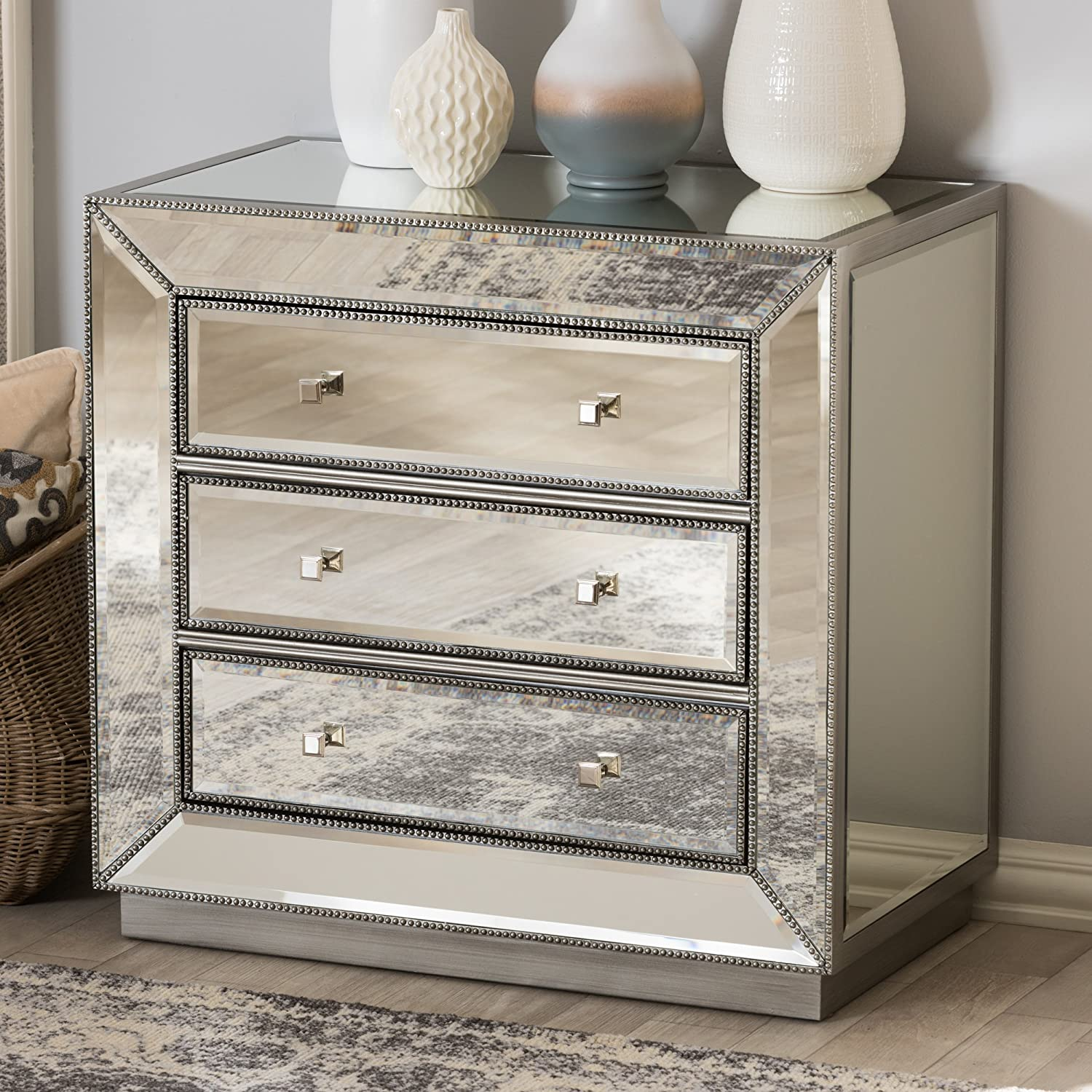 Baxton Studio Chests of Drawers//Bureaus 3-Drawer Chest Silver Mirrored Wholesale Interiors 424-7485-AMZ