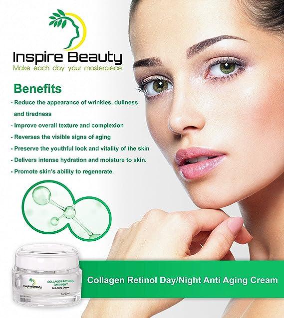 La crema antienvejecedora del día/de la noche del retinol del colágeno-30ml - reduce las arrugas, rejuvenecendo y reafirmando la crema anti del ...