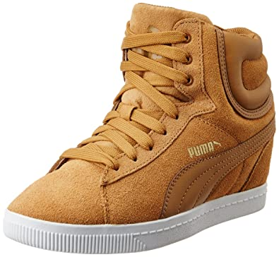 f24e4591503 Puma Women Brown Vikky Suede Wedge Sneakers (8 UK)  Buy Online at ...