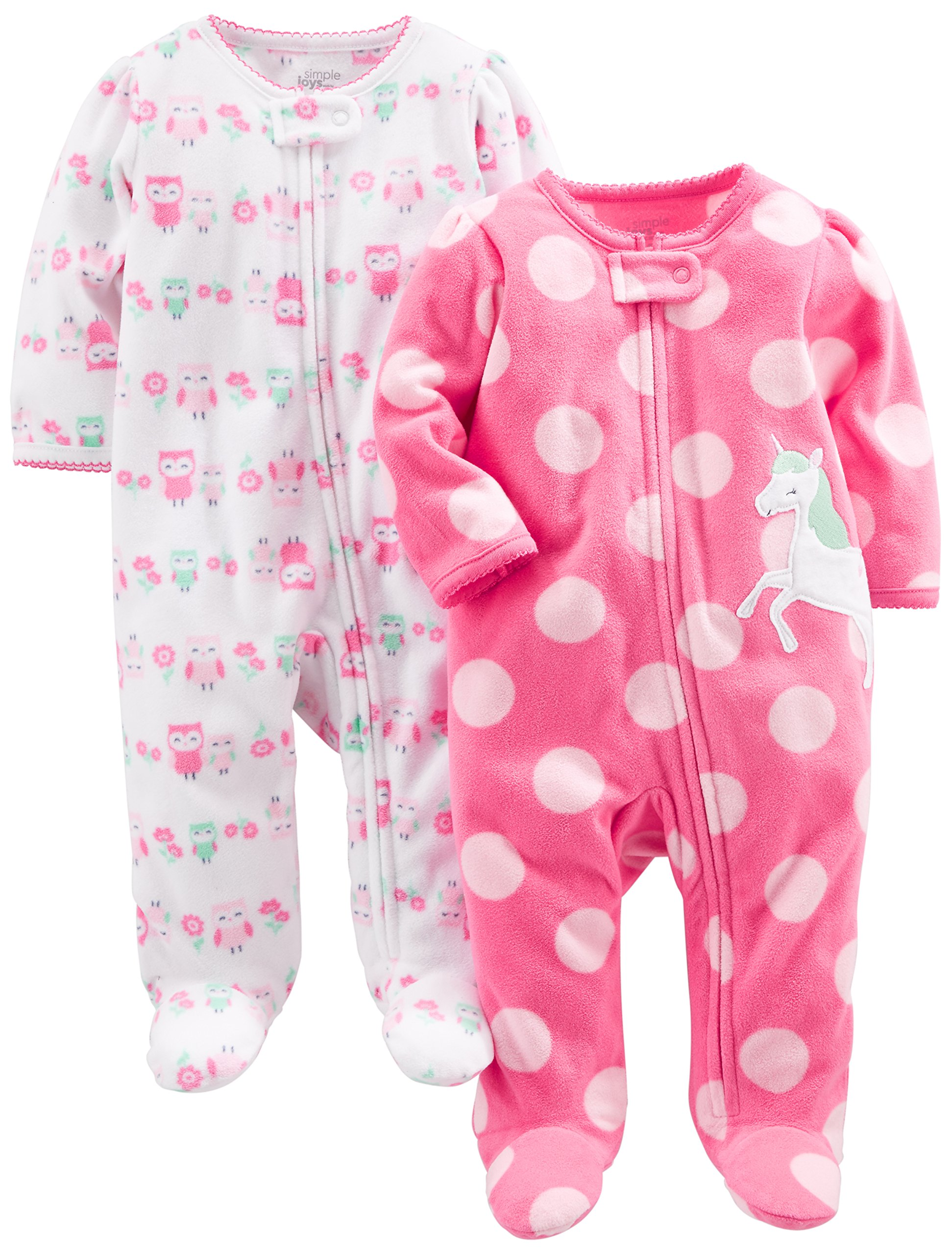 Simple Joys by Carter's Baby Girls' 2-Pack Fleece Footed Sleep and Play, Owl,Unicorn, 3-6 Months
