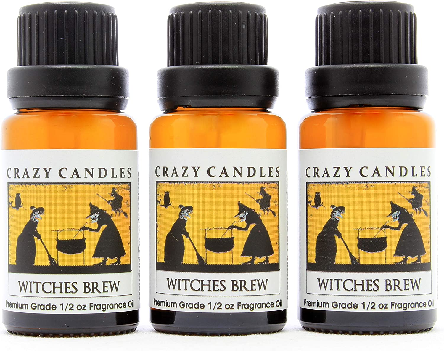 Crazy Candles Witches Brew (Made in USA) 3 Bottles 1/2 Fl Oz Each (15ml) Premium Grade Scented Fragrance Oil