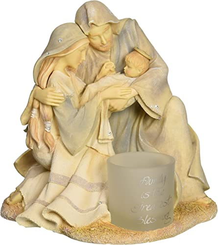 Enesco Foundations Gift Ornament Family with Votive Figurine, 6.14-Inch