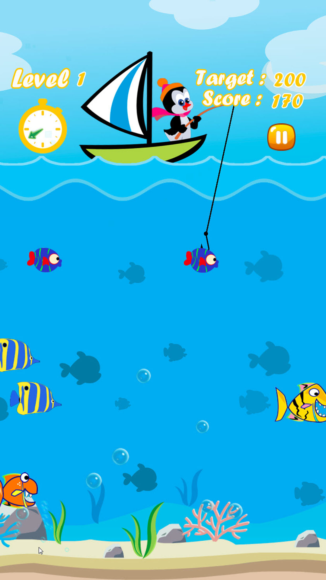Penguin fishing free game hook of fisher for Fish evolution game