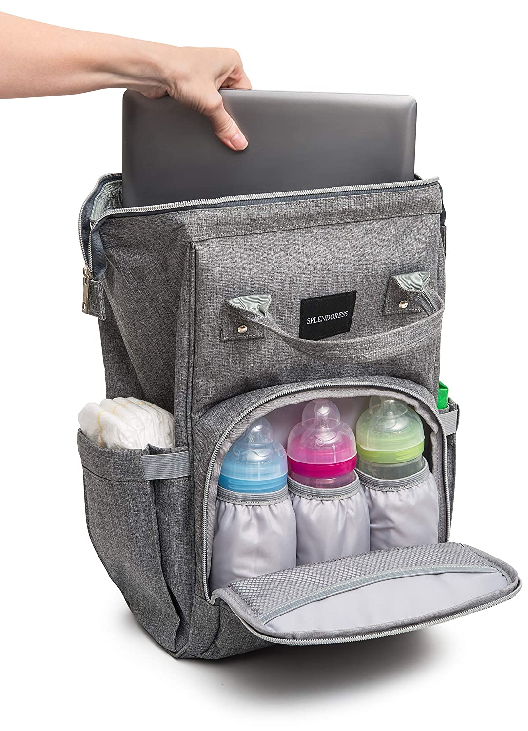 Buy One Get One Free Baby Diaper Bag Backpack with Free Changing Pad Waterproof Maternity Bag Organizer for Boy or Girl Large Capacity Nappy Tote Stylish and Durable for Men and Women -Grey
