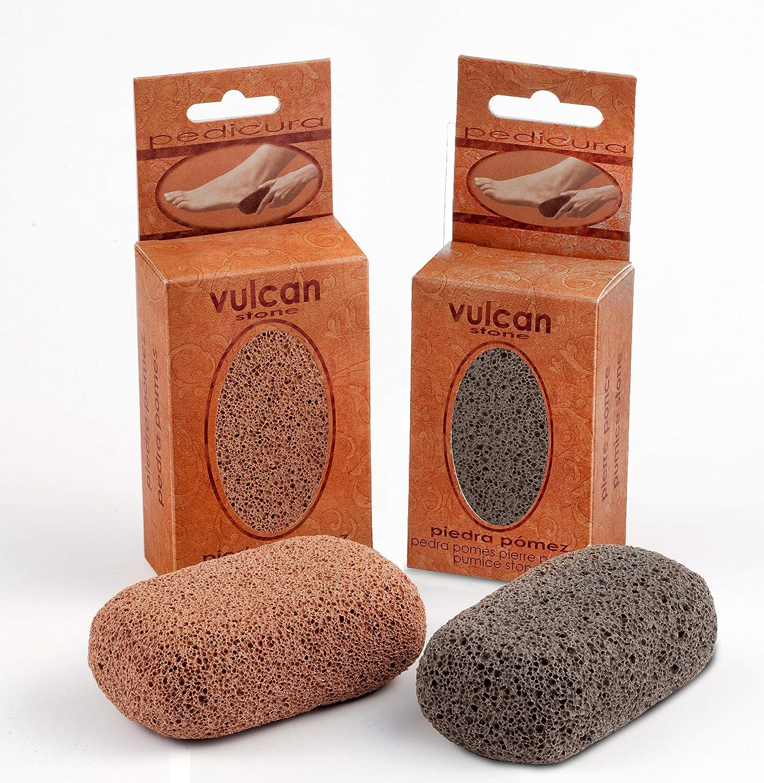 Piedra Pómez Vulcan - Pack de 2 unidades (Colores: Terracotta - Gris) - Elimina durezas y callosidades de pies y manos