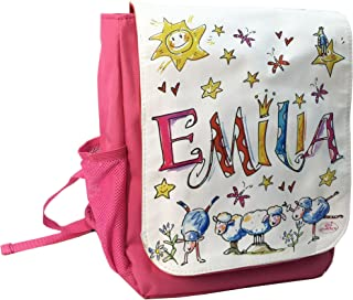 Kindergartenrucksack mit Namen, Schäfchen, Rosirosinchen, personalisierter Kinderrucksack