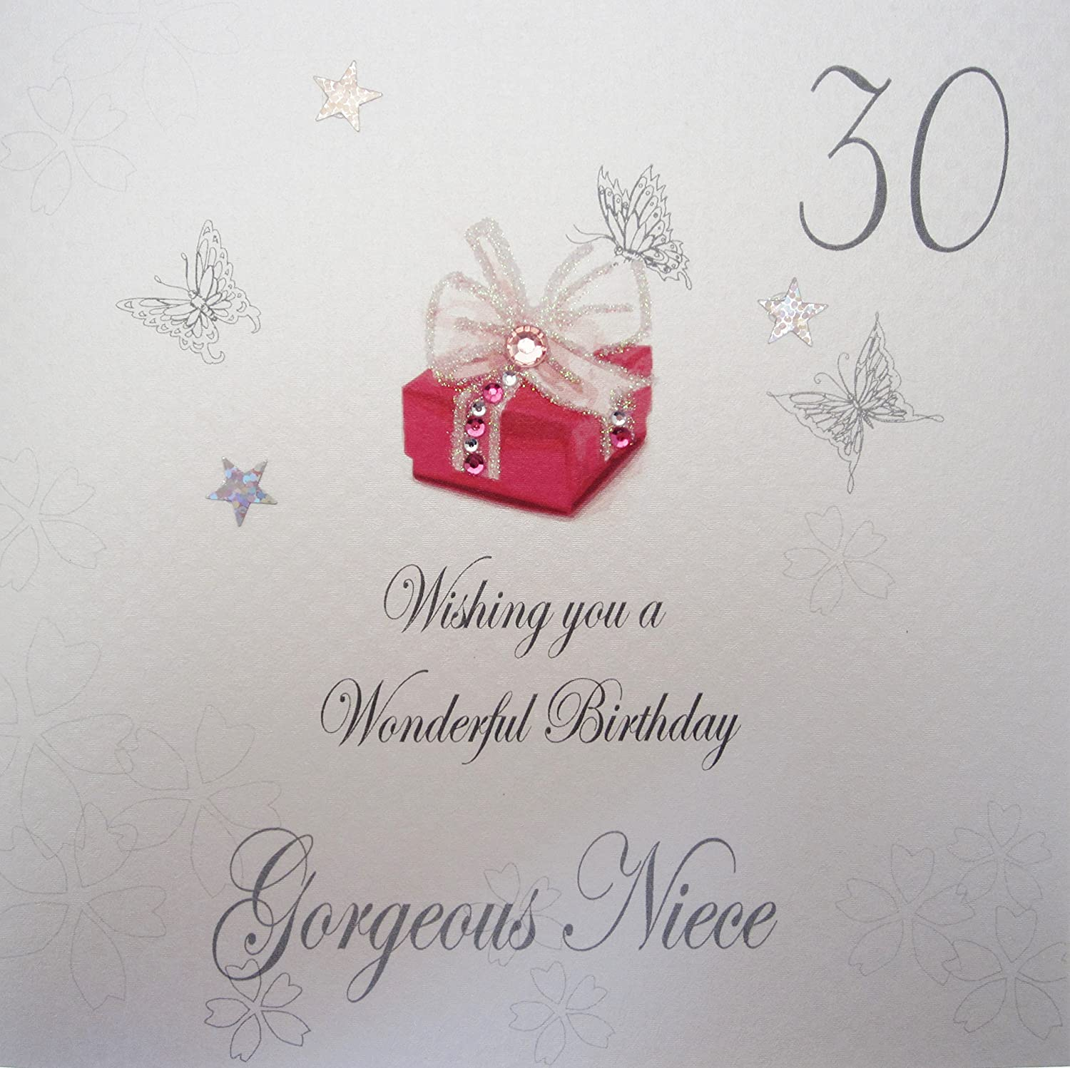 White cotton cards bdp30 n red present wishing you a wonderful white cotton cards bdp30 n red present wishing you a wonderful birthday gorgeous niece handmade 30th birthday card white amazon kitchen home kristyandbryce Choice Image