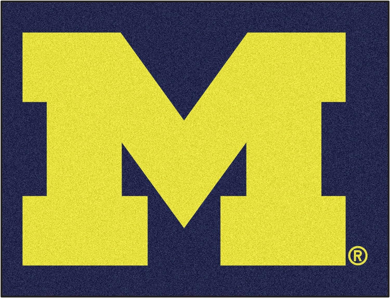 FANMATS NCAA University of Michigan Wolverines Nylon Face Basketball Rug