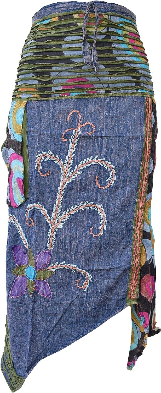 Gheri Hippie - Faldas bordadas de algodón Azul azul Talla única ...