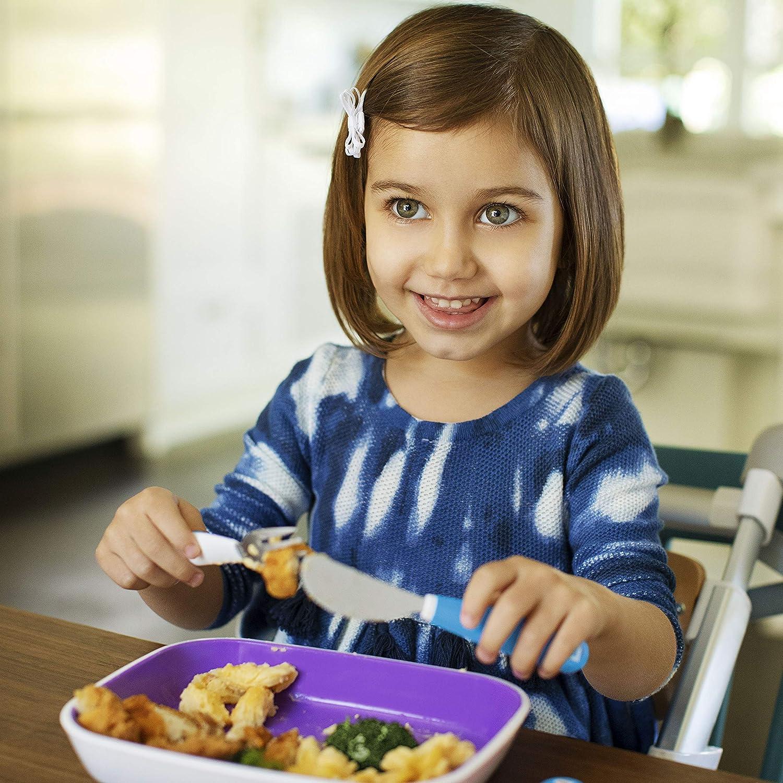 Chenqi Set de fourchette b/éb/é cuill/ère enfant courbe facile /à tenir cuill/ère fourchette formation d/îner vaisselle jaune vert 4 paquets