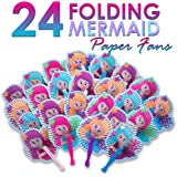 Mermaid Party Supplies: 24 Folding Mermaid Paper Fans - Variety Of Colors & Designs - Perfect For Any Mermaid Birthday Themed Party & Party Favors - Lifetime Replacement - M & M Products Online