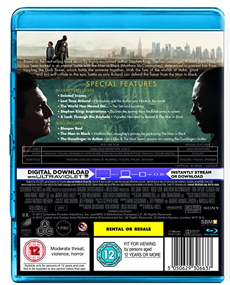 Amazon.com: The Dark Tower [Blu-ray] [2017] [Region Free]: Matthew McConaughey, Idris Elba, Tom Taylor, Dennis Haysbert, Ben Gavin, Claudia Kim, ...