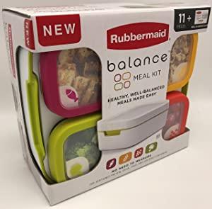 Rubbermaid 1995511 Balance 11-Piece Set Meal Kit |Portion Control Containers,