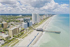 Myrtle Beach, South Carolina - Aerial View of Fishing Pier in The Atlantic Ocean 9030242 (Premium 1000 Piece Jigsaw Puzzle for Adults, 20x30, Made in USA!)