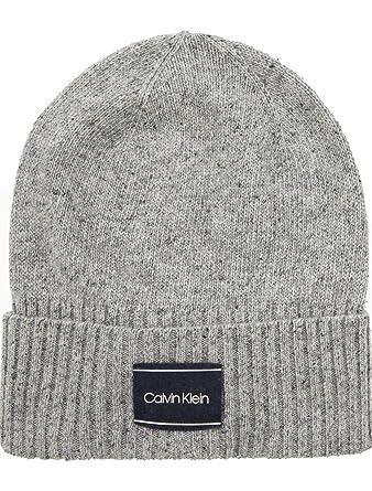 b4c3e491f Calvin Klein Men`s Wool Silk Blend NEP Logo Beanie (Mid Grey Heather ...