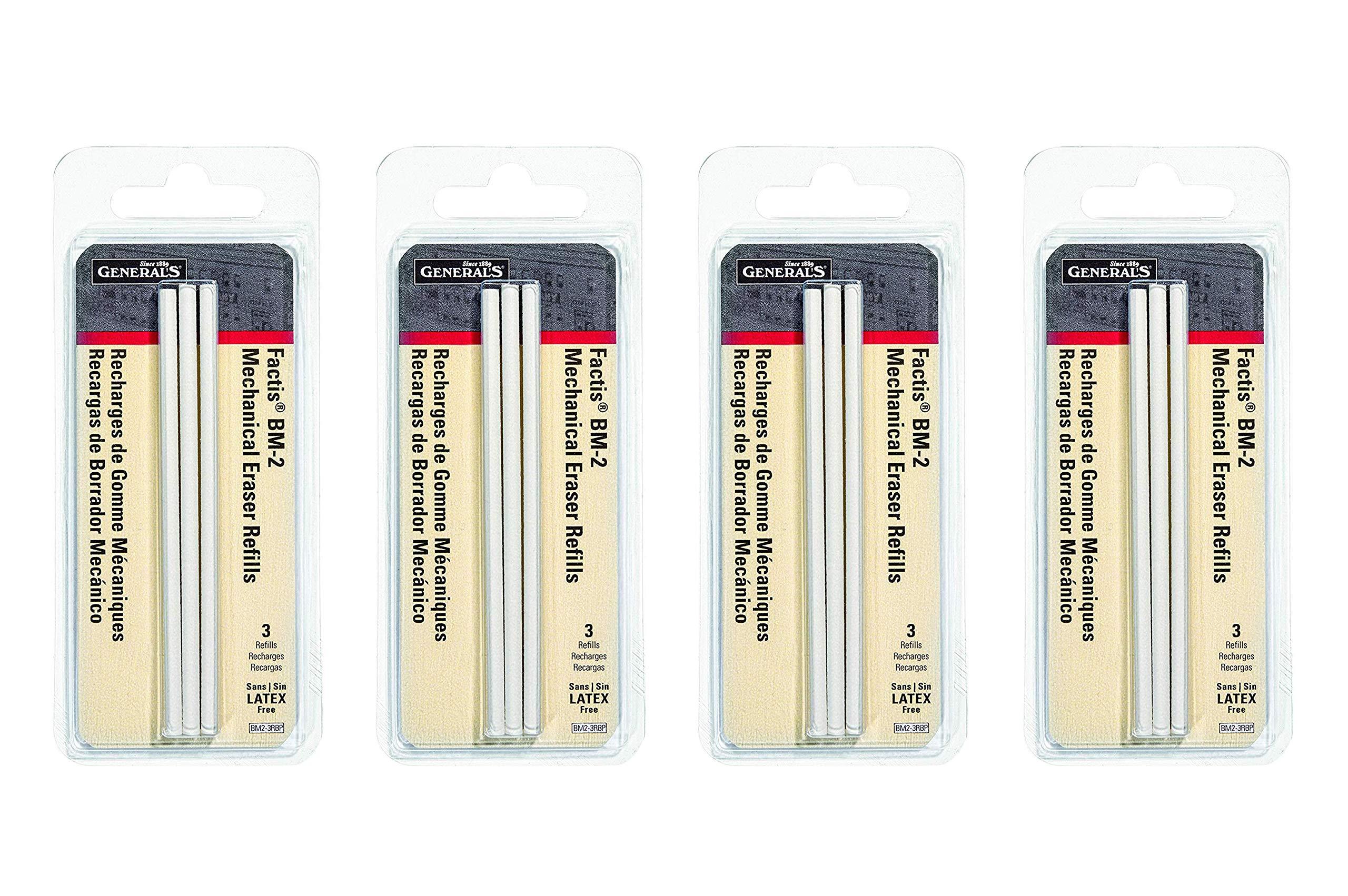 General Pencil CO. GPBM2-3RBP Factis Pen Style Eraser Refills 3Pcs Carded (Fоur Paсk)
