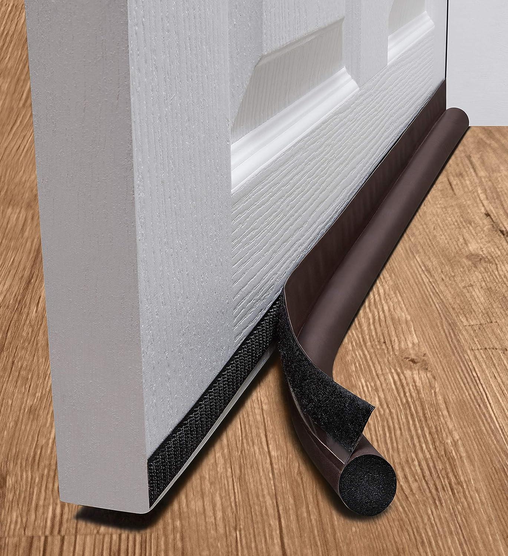 deeToolMan - Tope para Puerta (36 Pulgadas), Aislante de Puerta de una Cara/Cierre Autoadhesivo de Velcro, se Adapta a la Parte Inferior de la Puerta/bajo puerta (marron)