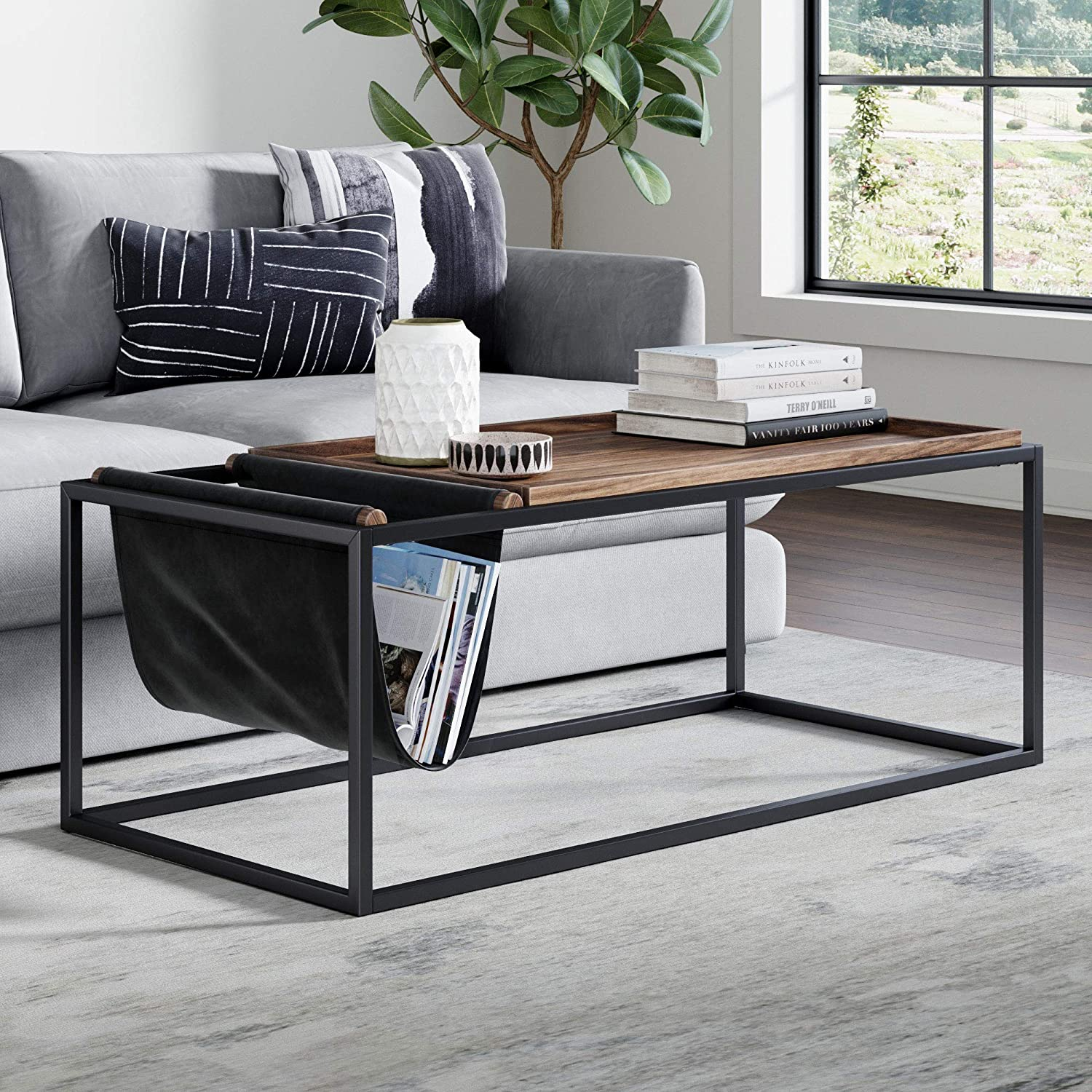 Nathan James 31401 Felix Modern Coffee Table with Wood Tray Top Vegan Leather Storage and Industrial Matte Steel Rectangle Metal Frame
