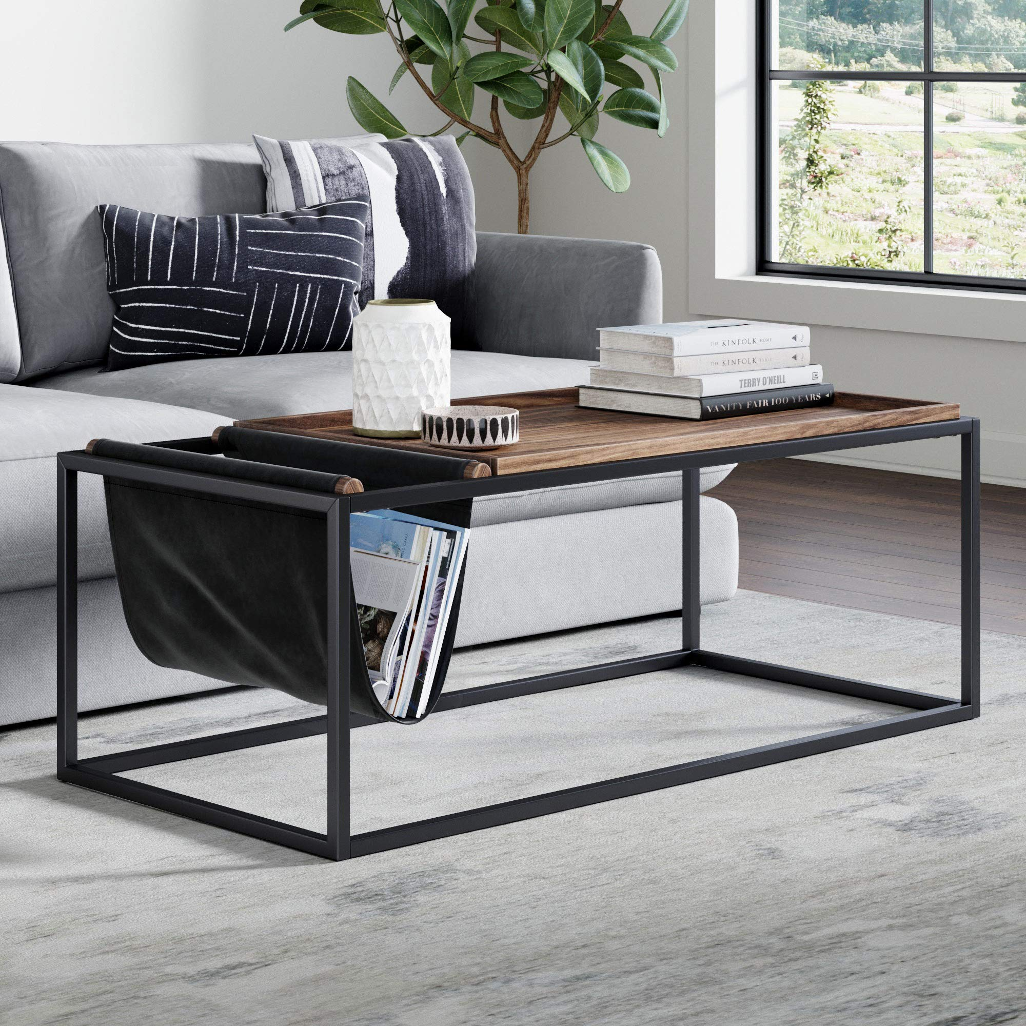 Nathan James Felix Modern Coffee Table Wood Tray Top, Vegan Leather Storage, and Industrial Matte Steel Rectangle Metal Frame, Nutmeg/Black by Nathan James