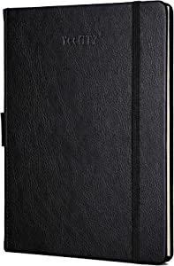 Thick Hardcover Notebook/Journal with A5 120gsm Premium Paper, College Ruled Bound Notebook with Pen Holder, Black Leather, 3 Ribbon Marker, Inner Pocket, 8.4 x 5.7 in
