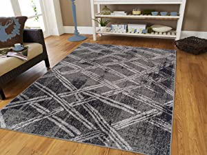 Luxury Fashion Large 8x11 Rugs For Living Room 8x10 Grey Rugs Contemporary Rugs For Living Room Gray and Black Modern Area Rugs Clearance, Large 8x11