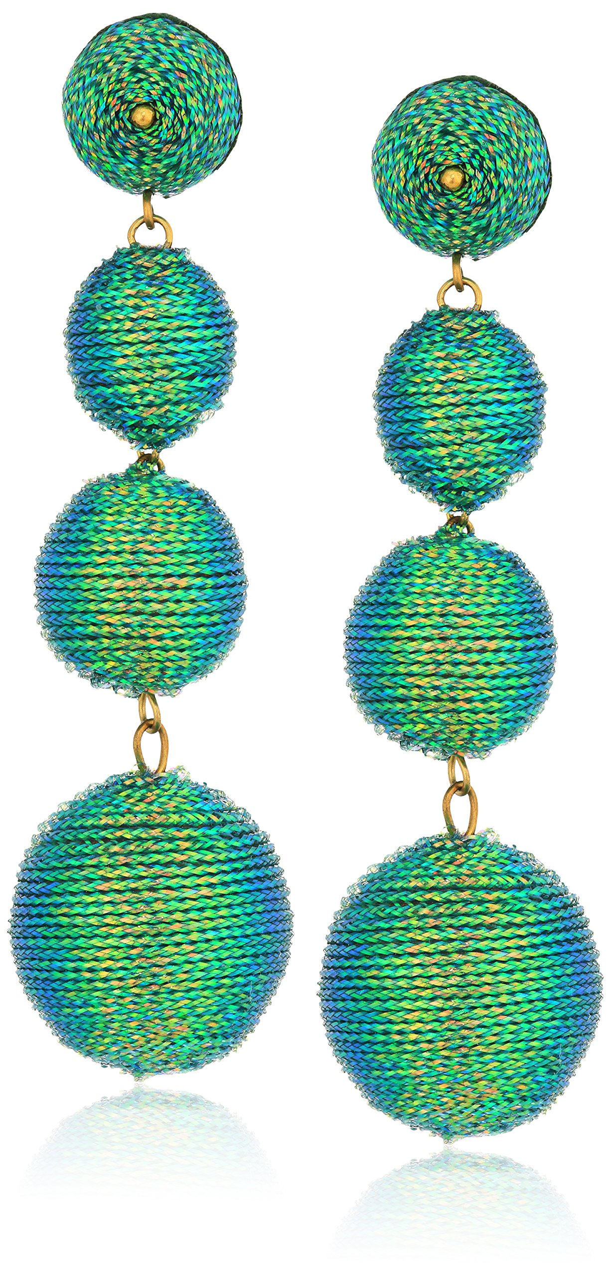 Kenneth Jay Lane Women's Green Threaded Ball Drop Earrings